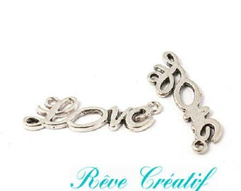 Pendants Love, love connector, silver, length 33mm, width 10mm, thickness 2mm, hole 1 mm, 5 pieces