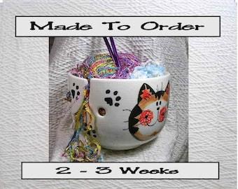 Tabby Cat Trio Yarn Bowl Handmade Original Earthenware Clay by Grace M Smith