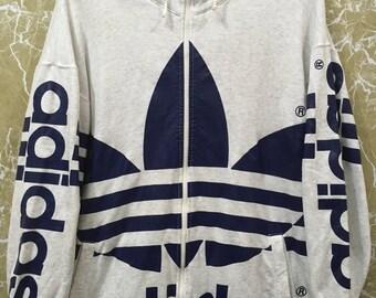 Vintage 80s Adidas big logo hooded three stripes hip hop jacket made in japan L size