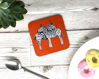 Hand Drawn Zebra Coaster - Zebra African Safari Animal Gift - Orange - Drinks Mat