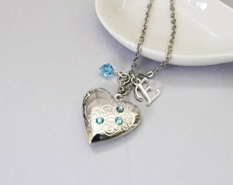 Heart Locket Silver Heart Locket Birthstone Locket March Aquamarine Crystal Locket Necklace Little Girl Locket Initial Necklace