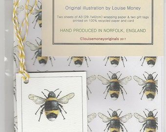 Bee wrapping paper. Bumblebee wrapping paper. bee gift wrap bumblebee gift wrap. wrapping paper with a bee. handmade gift wrap. insect paper