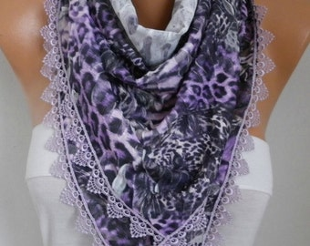 Easter Gift,Purple Leopard Scarf,Spring Scarf Animal Scarf,Cowl Scarf with Lace Edge Gift  For Women Fashion Accessories - fatwoman