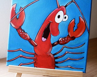 "Original Painting on Canvas ""Guiseppe"" The happy little Red Crab, Lobster/Shrimp"