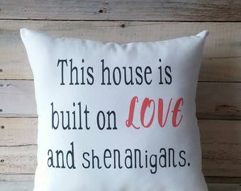 Love and Shenanigans Pillow Cover,Home Decor Pillow, Decorative Pillow, Farmhouse Pillow, Pillow With Words, Throw pillow, Funny Pillow