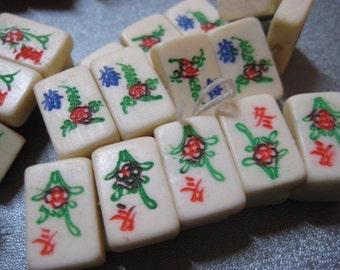 Bone Mahjong Mini Tiles Beads Side Drilled 10pcs