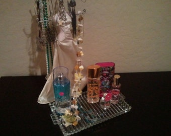 Pretty Glass Vanity Tray Simple but Ooh LaLa //FREE SHIPPING//