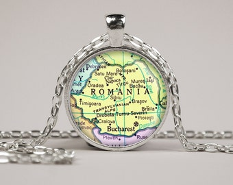 Romania Map Pendant Necklace or Keyring Glass Art Print Jewelry Vintage Map Pendant Europe Map Pendant Atlas Pendant Bucharest Map Pendant