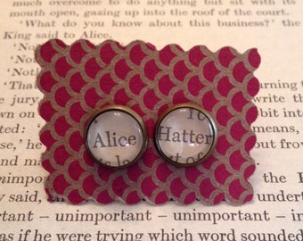 Alice in Wonderland Earrings - Alice, Hatter - Mad Hatter, Lewis Carroll, literary jewelry