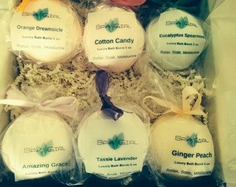 Gift Set - 6 LARGE 5.3 oz bath bomb fizzies, Ultra Moisturizing with Shea & Cocoa Butter- perfect gift!!!