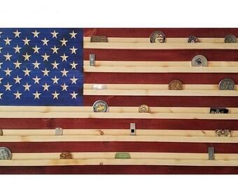 "16"" x 28"" Rustic Handmade American Flag Military Challenge Coin Display"