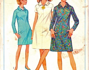 Simplicity 7289 Woman's A-Line Shift Dress, Above Knee Length Dress, Short or Long Sleeve Dress Sewing Pattern Size 14 Vintage 1960's