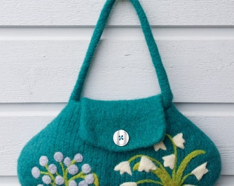 Felted bag purse pouch turquouse wool hand knit needle white blue felted flowers berries