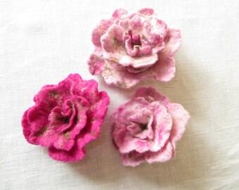 Beautiful blossom, rose, brooch, felted