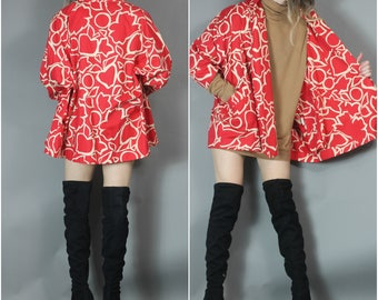 Vintage Red Artsy Print Trapeze Jacket Unique S-XL Open Fit Kimono Style Short Duster Coat