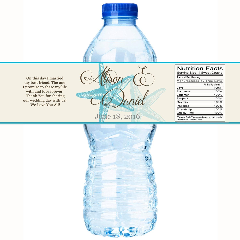 Beach Wedding Decor - Wedding Water Bottle Labels - Starfish Wedding ...
