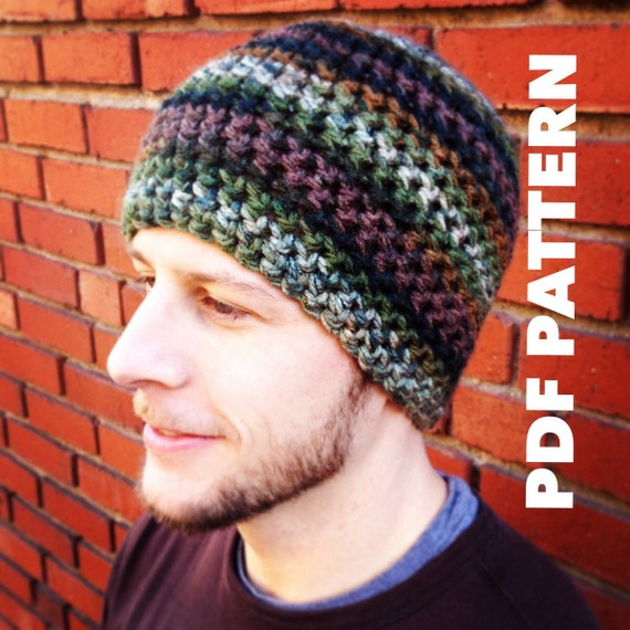 One Hour Striped Mens Beanie Crochet Pattern Bulky Mens Beanie Hat