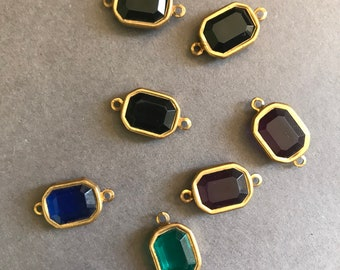 Mixed Gold Faceted Rectangle Charms