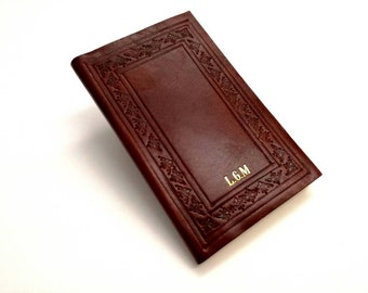 Small Leather Notebook with your Initials - Customizable