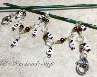 Knitting Row Counter Chain- Number Stitch Markers- Chain Row Counter- Gift for Knitters