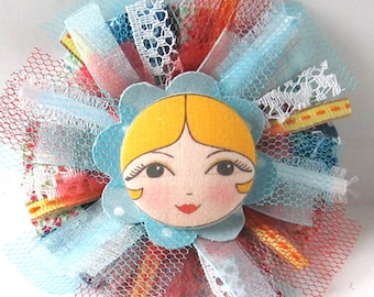 Fabric Flower Brooch, Art Doll Brooch, Textile Pin, Button Art, Unusual Cloth Brooch