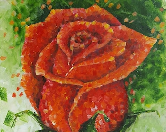 RED ROSE: (70X50 cm), Acrylic on Canvas