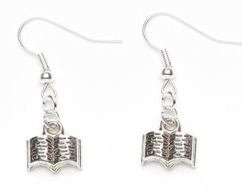 Silver Book Earrings | Book Lover Gift | Open Book Earrings | Book Charm Earrings