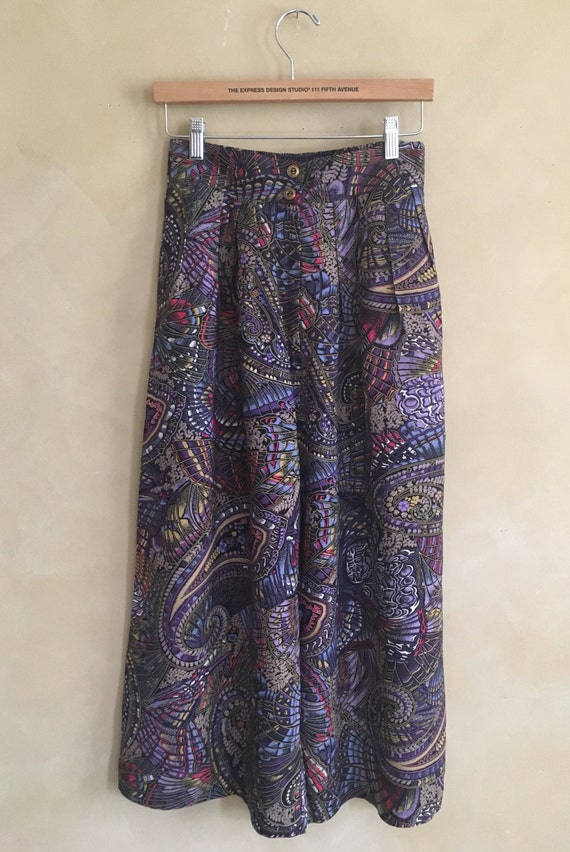 Vintage 80's Culotte Pants Chinoiserie Print