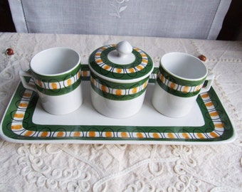 Lovely Made in Italy ceramic espresso tete-a-tete set. Coffee serving set. Two white, green and yellow coffee cups, tray and sugar bowl.