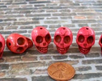 Deep Rosy Pink Skull Stone Beads