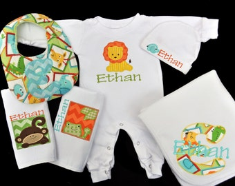 Personalized Jungle Safari Baby Gift Set / Sleeper, Blanket, 2 Burpcloths and Bib
