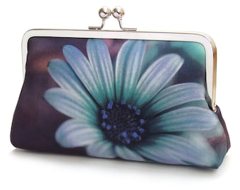 Blue daisy clutch bag, flower purse, printed silk handbag