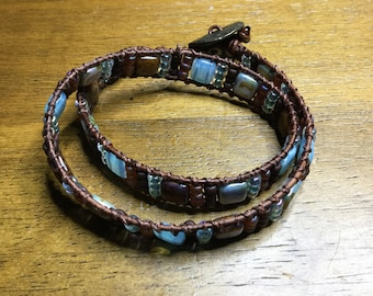 Blue and Brown Leather Wrap Bracelet