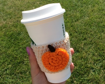 Crochet cozy with pumpkin, pumpkin coffee cozy/sleeve, cup cozy, fall style