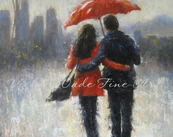 Seattle Lovers in the Rain Art Print, Seattle paintings, rain couple, romance, red umbrella, art space needle, home decor, Vickie Wade art