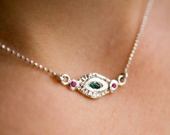 Evil eye ball chain necklace with emerald and rubies
