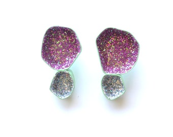 geometric stud earrings, mint green powdercoating with magenta and silver sparkle, geode post earrings with glitter, statement earrings