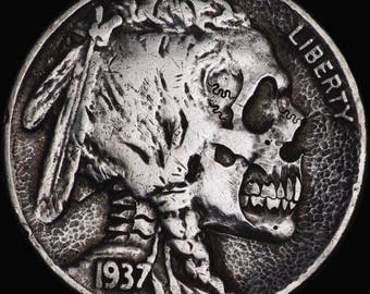 Hand Carved Buffalo Nickel coin human SKULL - Hobo nickel by Seth Basista SB carvings engraved sculpted