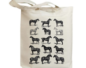 Retro Horses Vintage Eco Friendly Canvas Tote Bag (idb0016)