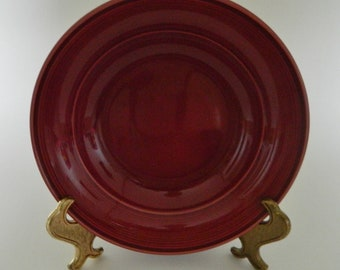Nancy Calhoun Dinnerware Solid Colors Raspberry Burgandy Rimmed Soup Bowl One