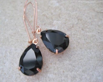 Long rose gold black Crystal drop earrings - Created with Jet crystals from Swarovski®