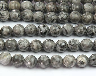Natural Scenery Jasper Beads, 10mm Faceted Round - 15 inch Strand - eGF-31141-10