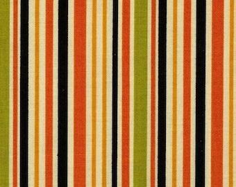 Patchwork fabric striped monster bash orange black green moda