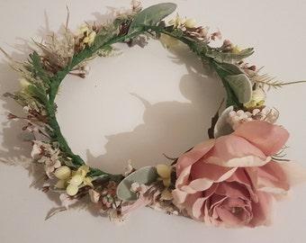 Blush pink rose floral head crown - Silk head crown - Bridal head crown - Festival - Occasions