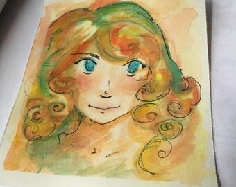 Golden Girl Original Water Color