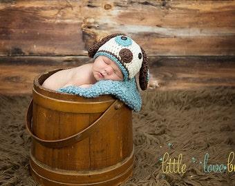 Newborn Photo Props / Newborn Puppy Hat / Baby Puppy Dog Hat / Custom Colors Welcome