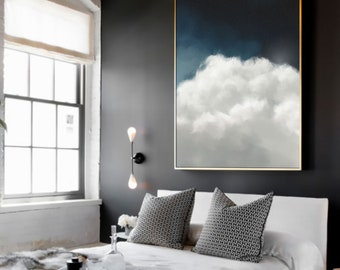 Wall Art, Cloud Painting, Extra Large Canvas, Abstract Art, Large Abstract Painting, Blue and White Cloudscape Art by CORINNE MELANIE ART