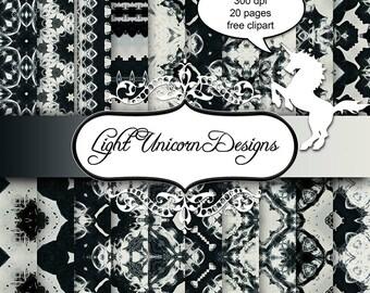 Black and White Splashes Digital Scrapbook Printable Paper