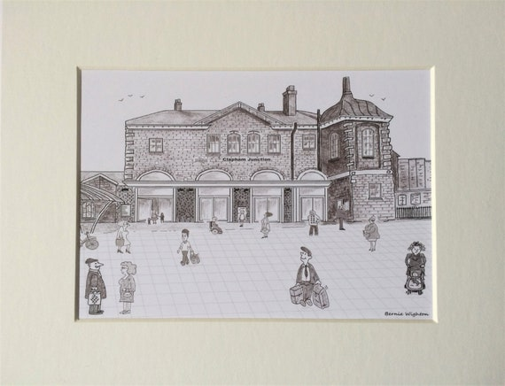Clapham junction station print 7x 5 mounted in reheart Choice Image