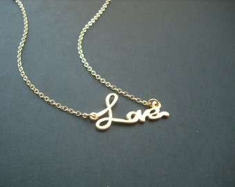 love pendant necklace - matte 16K yellow gold plated